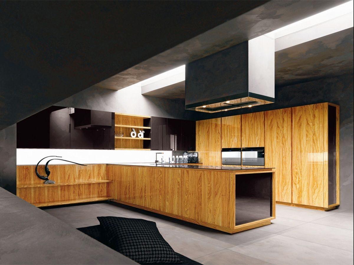 Cocina moderna de madera natural im genes y fotos - Cocinas de madera modernas ...