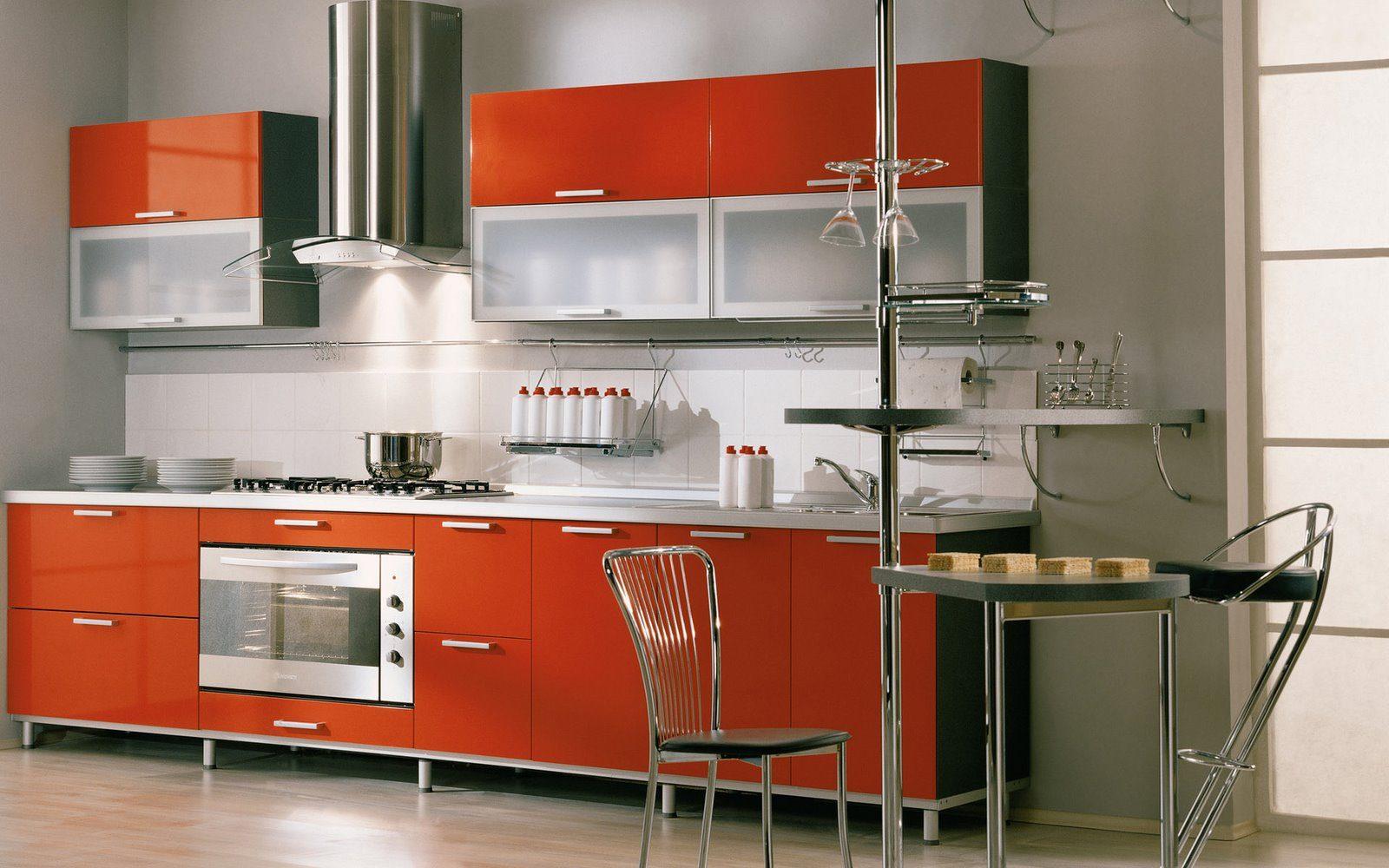 La Cocina Moderna | Cocina Moderna De Tonos Naranjas Imagenes Y Fotos