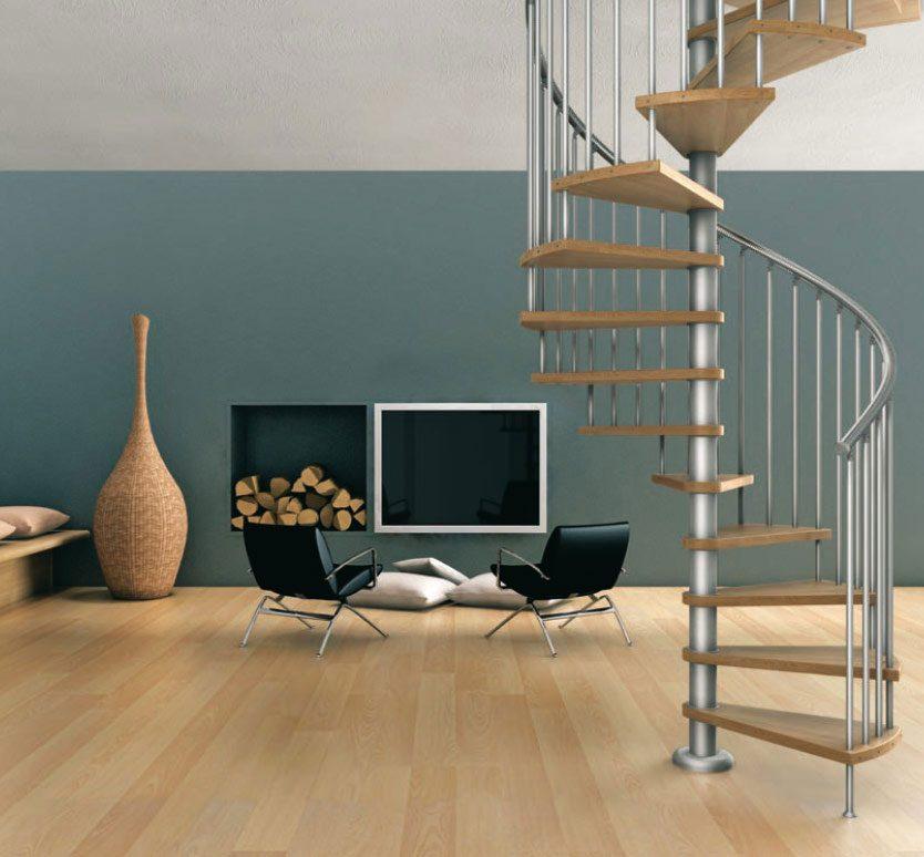 Escalera de caracol para un interior moderno im genes y for Comedores circulares modernos