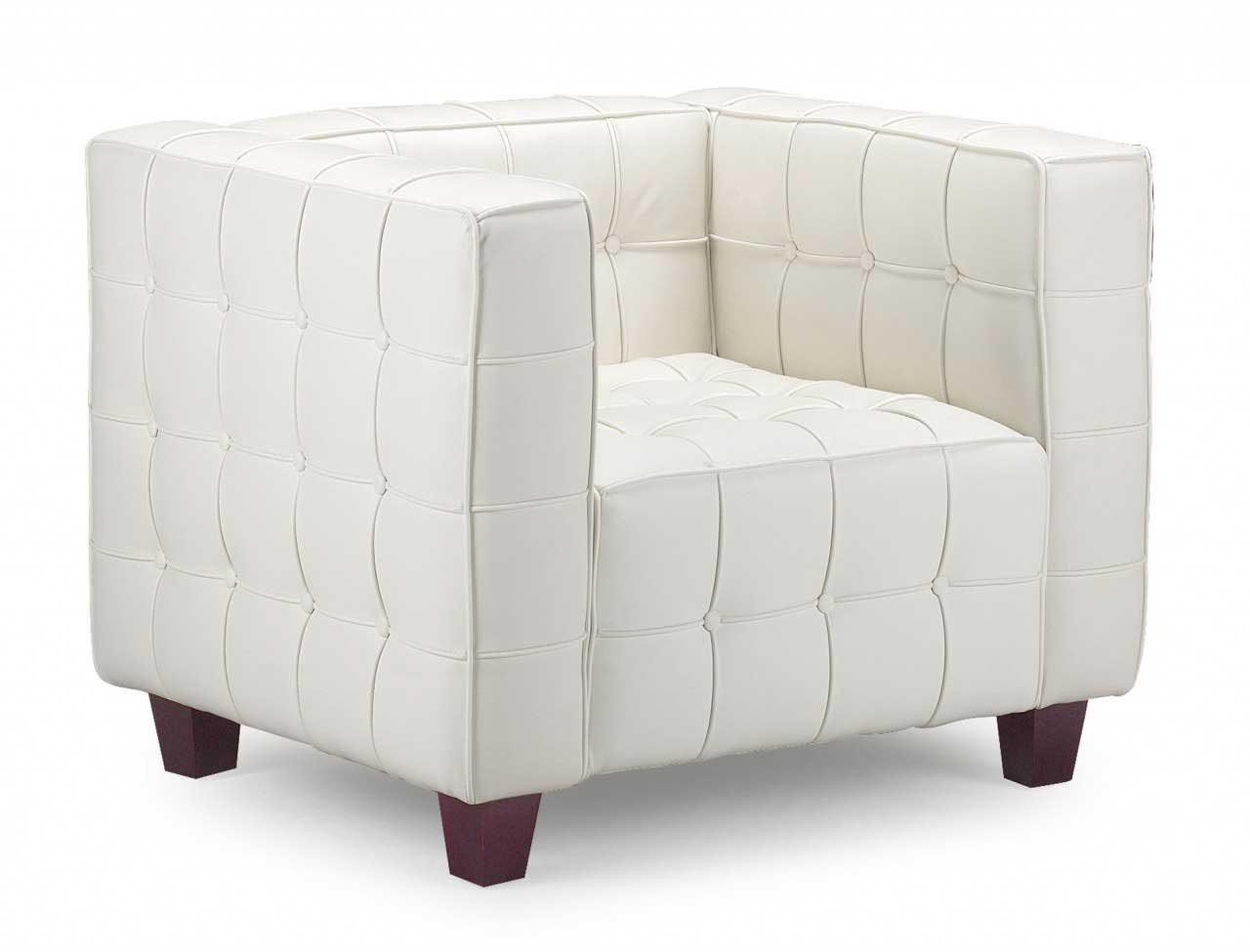 silln moderno de piel blanca - Sillon Moderno