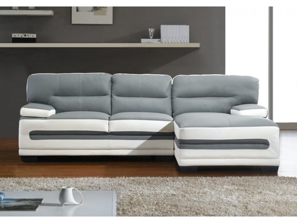 Sof chaise longue actual en blanco y gris im genes y fotos for Sofas de piel con cheslong