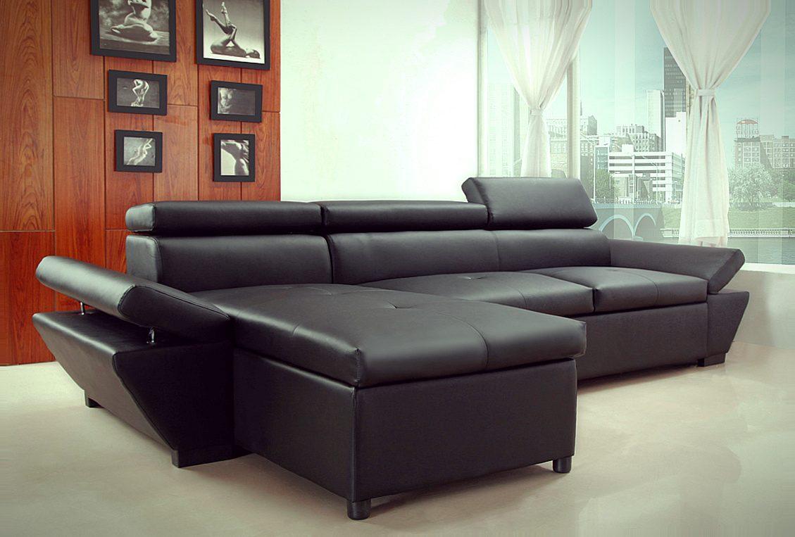 sof chaise longue moderno en cuero negro im genes y fotos On sofas de cuero modernos