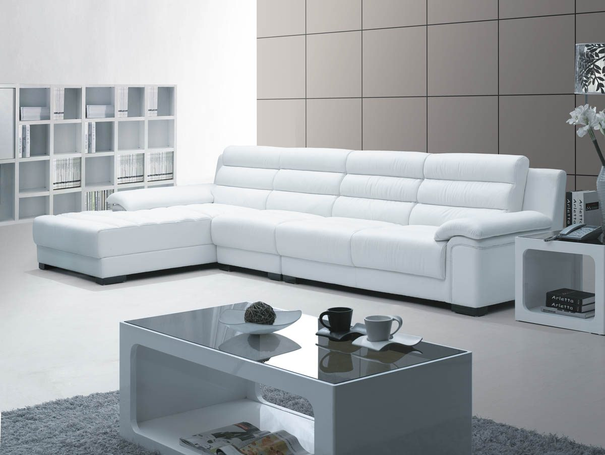 Sof chaiselongue moderno de piel blanca im genes y fotos for Sofas de piel con chaise longue
